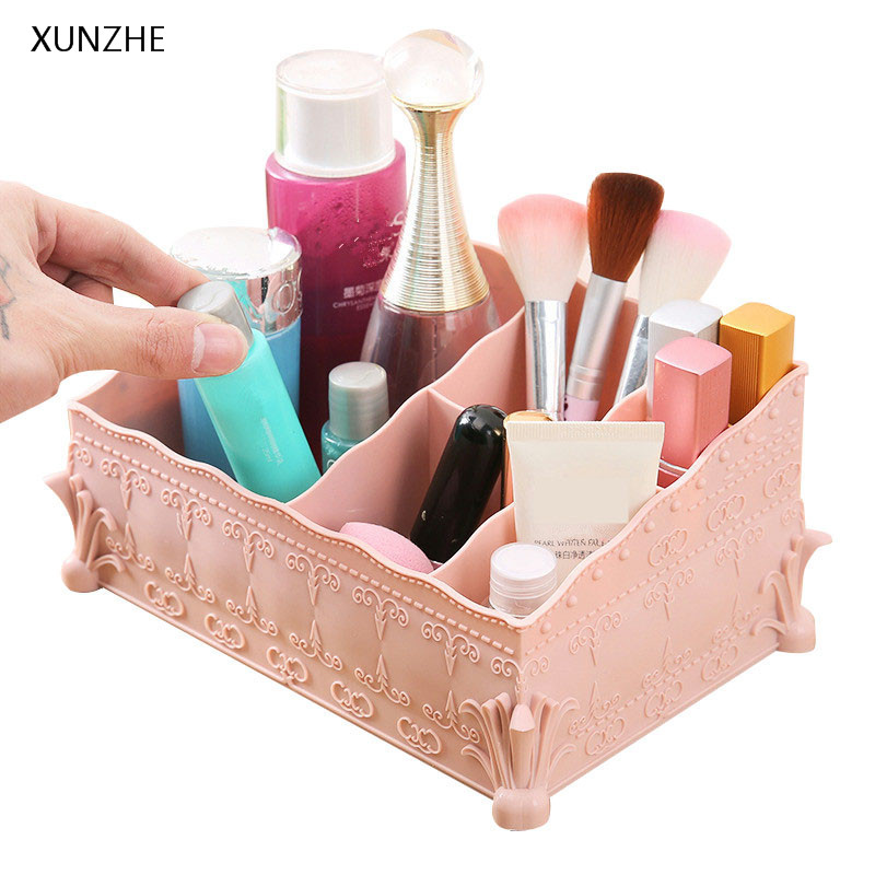 XUNZHE Multifunction Desktop Storage Box Portable Business Card Case 6 Grid Cosmetics Stationery Jewelry Sundries Organizers