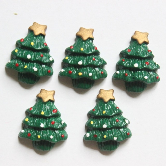 30pcslot flat back resin christmas tree diy resin cabochons accessories