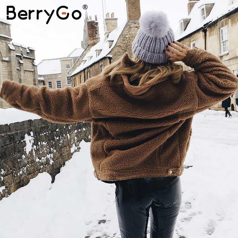 BerryGo/куртки из искусственного меха и овечьей шерсти на пуговицах, пальто 2018, модный розовый Теплый зимний костюм, Женская Осенняя верхняя одежда, Женское пальто