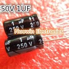 1000 шт. 1 мкФ 250 V Алюминиевый электролитический конденсатор с алюминиевой крышкой, 250 V 1 мкФ Алюминий электролитический конденсатор с алюминиевой крышкой, 6,3X12 мм