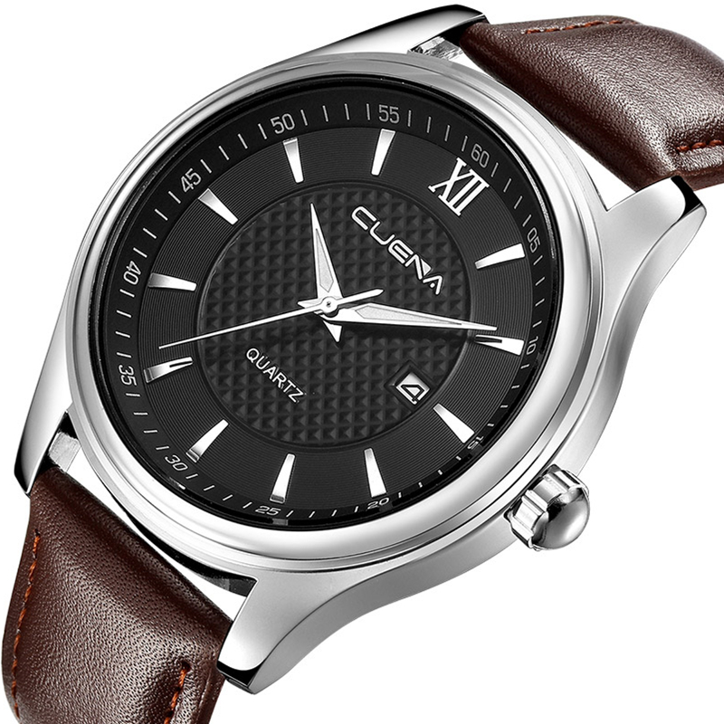 CUENA Men Quartz Watch Genuine Leather Calendar Fashion Wristwatches Clock 30M Waterproof Relogio Masculino Mens Watches