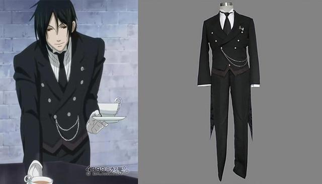 black butler cosplay costumes Kuroshitsuji Sebastian Cos Black Mens clothing  Custom made halloween costumes for men