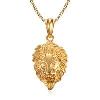 Lion Head Gold Color Pendant Necklaces 316L Stainless Steel For Men Wholesale
