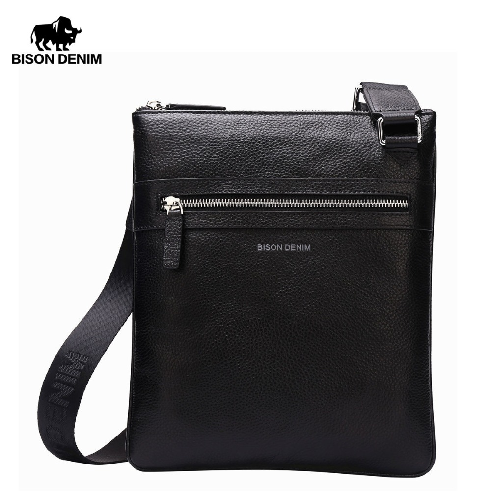 BISON DENIM Brand Genuine Leather Crossbody Bag Lelaki Slim Male Shoulder Bag Business Travel iPad Bag Men Messenger Bags N2424