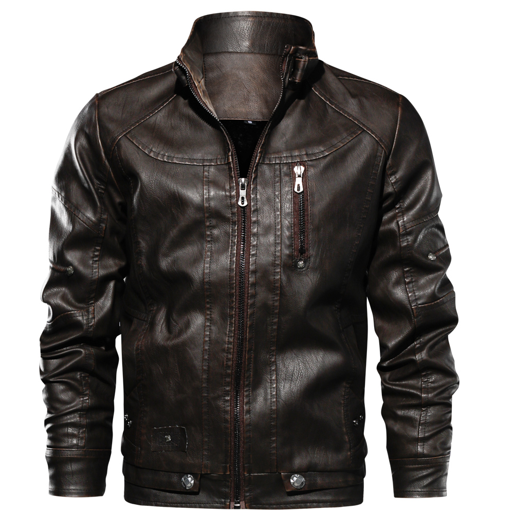 Роскошные осень-зима мужская кожаная куртка на молнии облегающие пальто мотоцикл из искусственной кожи куртка воротник стойка флисовый пи...