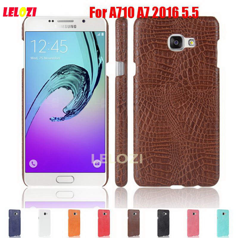 LELOZI Crocodile Snake Pattern Hard PC lady PU Leather Phone Etui Coque Case Cove caso For Samsung Galaxy A710 A7 2016 5.5
