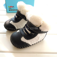 2014 Winter Thicken Velvet Genuine Leather Baby Boys Black Snow Boots Infant Kids Toddler Shoes First
