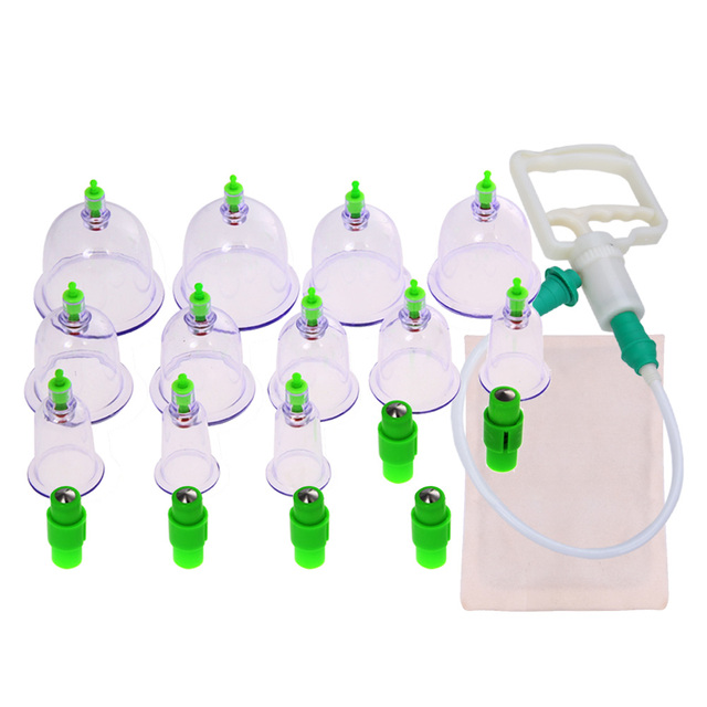 12 pcs/set Chinese Medical Vacuum Body Cupping Set+Moxa Paste Health Care Massage Therapy Kit Body Relaxation Cups