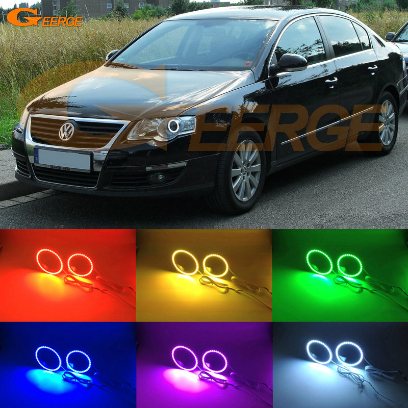 For Volkswagen VW Passat B6 Magotan Halogen Headlight 2006-2010 Excellent Multi-Color Ultra bright RGB led Angel Eyes kit car styling 13pcs excellent canbus led bulb interior dome map light kit package for volkswagen vw passat b6 2006 2010
