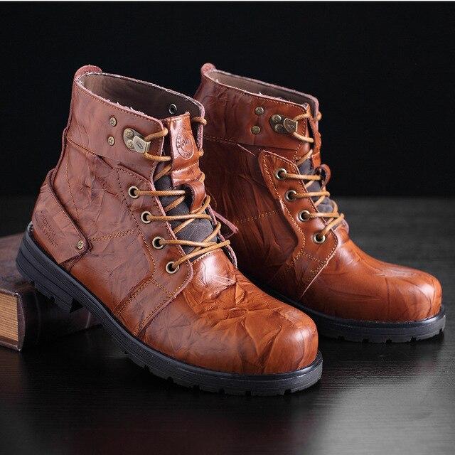 men genuine leather work boots tactical combat military boots winter plush Martin biker boots botas hiver militar Bottes L102102