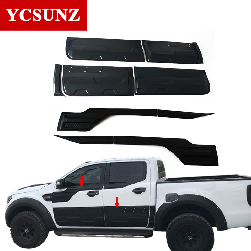 6pcs/set Exterior Body Cladding Kits For FORD RANGER T6 T7 2012-2019 Wildtrak Double Cabin