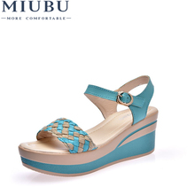 MIUBU Female Sandals Shoes Wedge Platform Leather Ladies Buckle High Heels Weave Strap For Women Summer