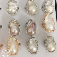 100% NATURE FRESHWATER PEARL RING, big baroque pearl ring .20x30 mm pearl