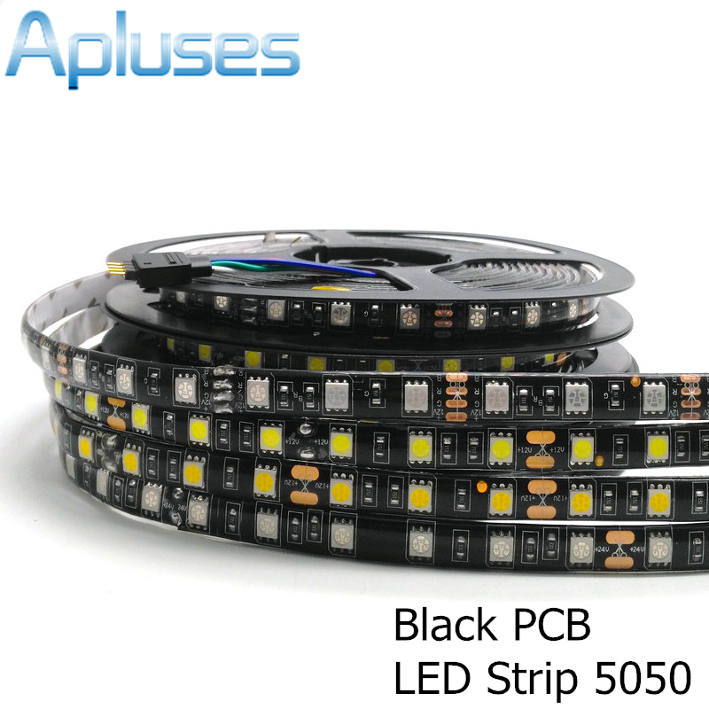 5m/Lot 5050 Black PCB LED Strip 12V Flexible Decoration Lighting IP65 Waterproof LED Tape RGB/White/Warm White/Blue/Green/Red 5m 300pcs 5050 smd leds 72w 2000lm ip65 waterproof highlight decoration black strip lamp warm white light