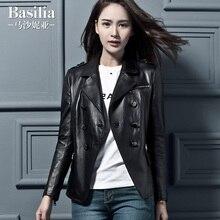New Arrival Woman Genuine Leather Moto Jacket Female Short Coat Double Breasted Sheepskin Black Plus Big Size 2XL 3XL 4XL