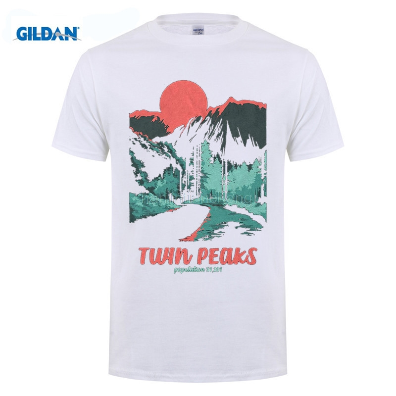 GILDAN mens t shirts 2018 Short Sleeve Cotton T Shirts Man Clothing Twin Peaks Population Mens Graphic T Shirt