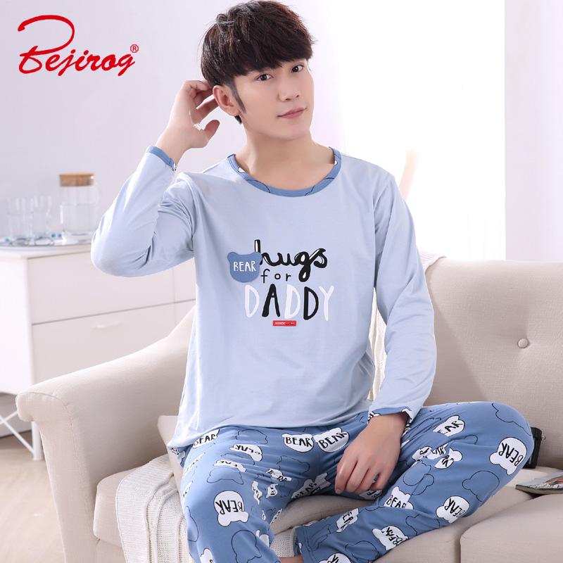 Bejirog Sleep Clothing Men Sleepwear Casual Nightwear Fashion Long Sleeve Pajama Set Autumn Cotton Nightie Plus Size Male Pijama