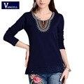 Vangull 2017 новые женские блузки рубашки с длинным рукавом О-Образным Вырезом вышивка хлопок топы старинные женские блузки плюс размер 4XL топы