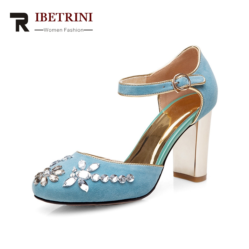 RIBETRINI 2018 summer new arrival crystal women sandals natural kid suede high heels shoes woman shallow party shoe 2017 new arrival abnormal jeweled heels rhinestone crystal embellished high heel sandals ankle strap lock summer party shoes