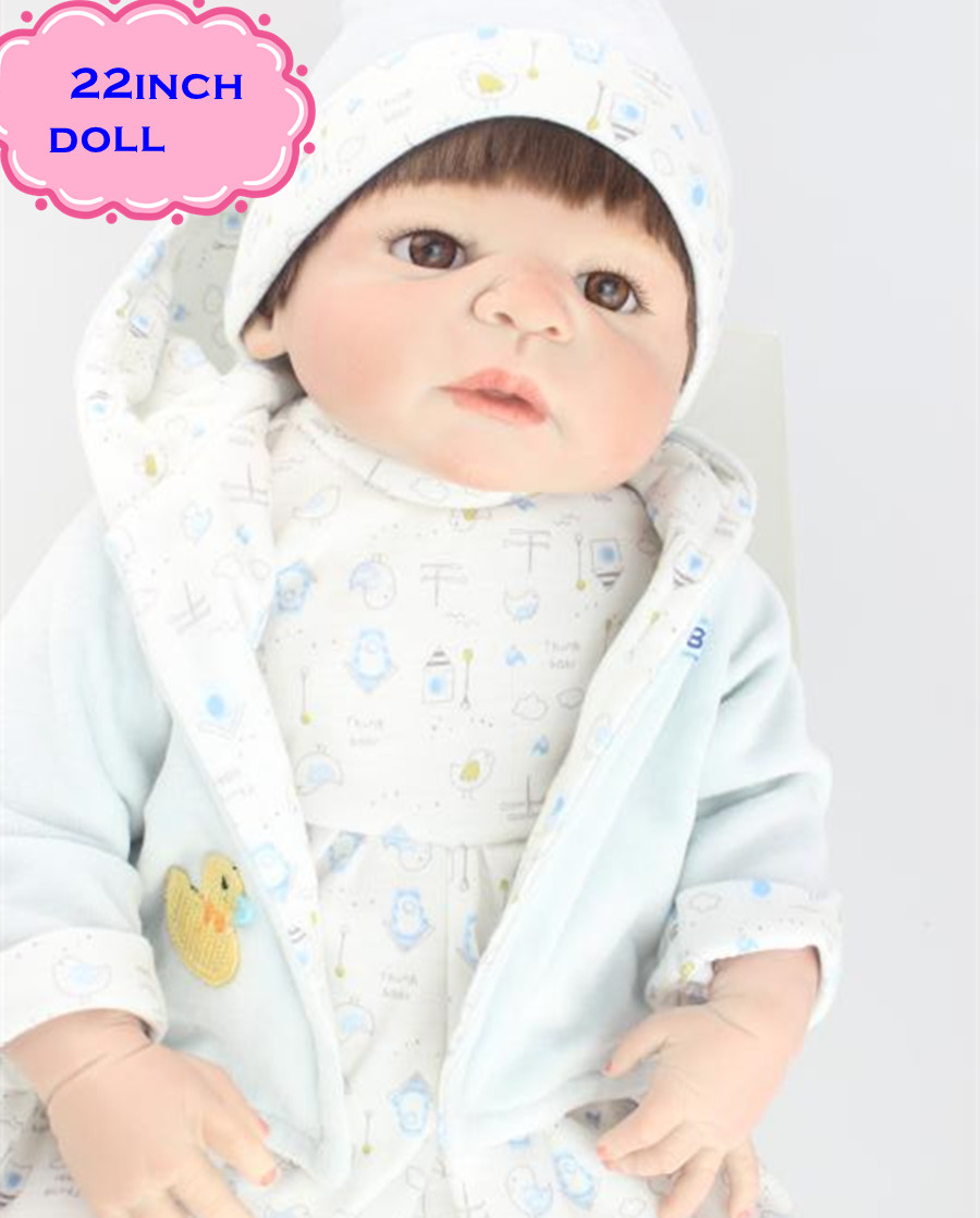 NPK Real Lifelike Reborn Baby Doll 22 Inch Full Silicone Vinyl Newborn Babies Brinquedo do Bebe Kids Birthday Christmas Gift can sit and lie 22 inch reborn baby doll realistic lifelike silicone newborn babies with pink dress kids birthday christmas gift