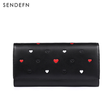 SENDEFN 2017 Brand New Women Wallets Female Long Wallet Lady Heart design Purse Split Leather Purses For Phone/Coin/Card Holder