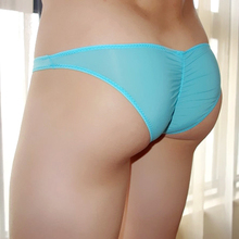 Ice silk underwear sexy transparent briefs tide male ultra low waist slim bikini gay man panties