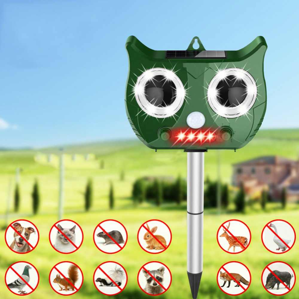 Outdoor Ultrasonic Solar Pest Repeller Flash Animal Pest Mouse Repeller Garden Bird Cat Dog Fox Repellent Keep Animals Away