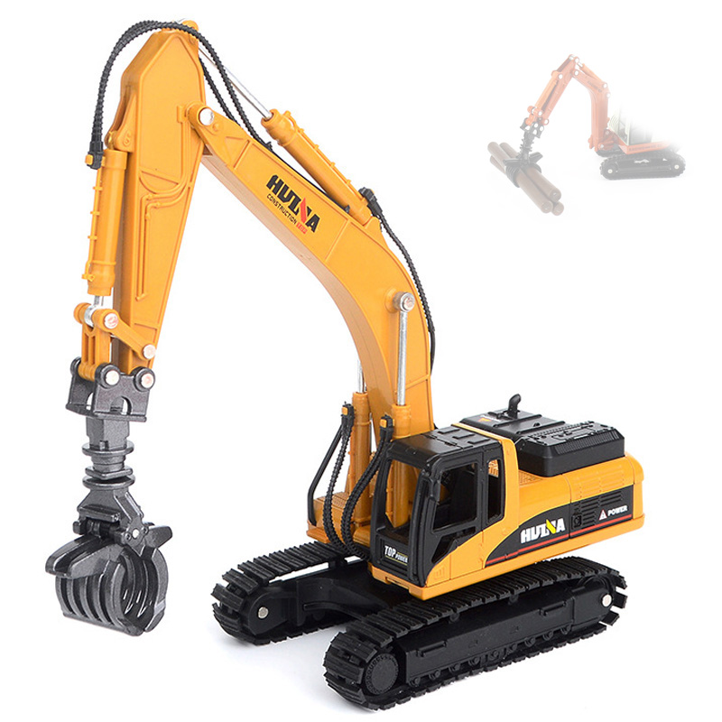 1:50 Engineering Vehicle Alloy Timber Grab Loader Excavator Car Vehicles Model Diecast Toy For Boys Children Toys