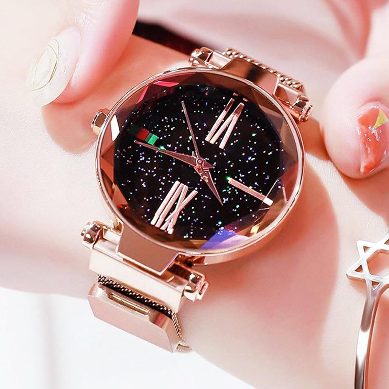 Luxury Fashion Rose Gold Women Watch Magnet Starry Sky Quartz Watch For Ladies Mesh Belt Wristwatch Relogio Feminino