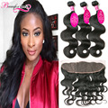 Malaysian Body Wave Bundles With Frontal 7A Malaysian Virgin Hair Body Wave With Closure Wavy Lace Frontal Closure With Bundles