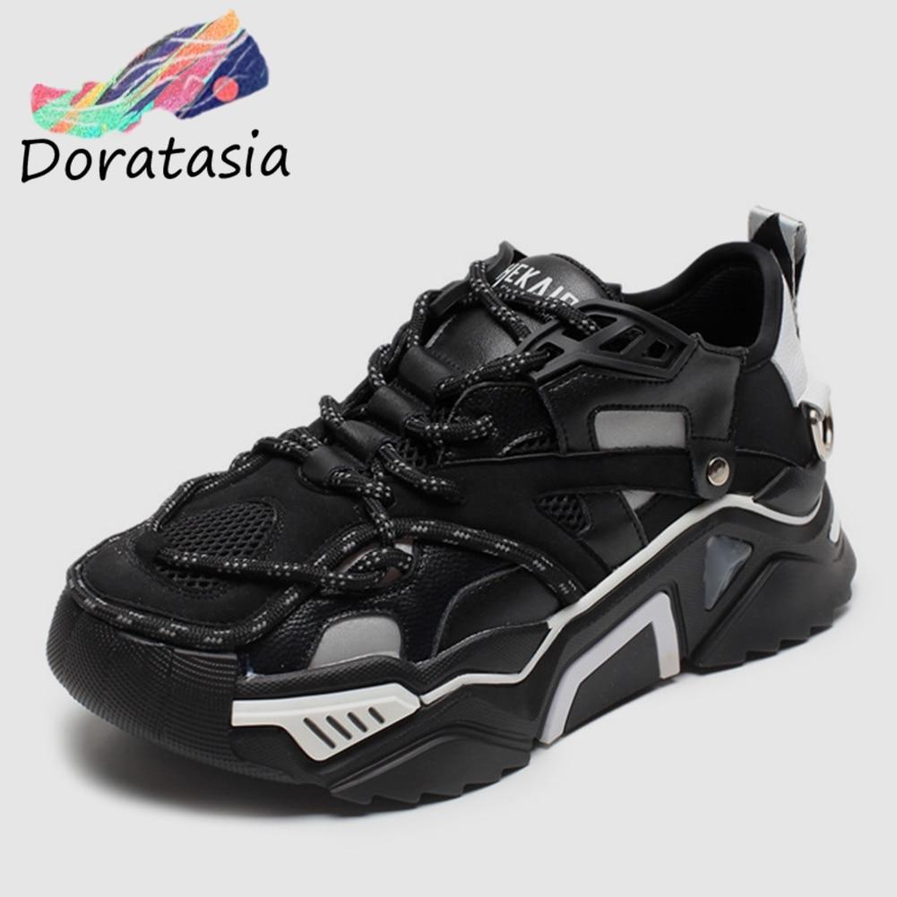 DORATASIA nouveaux INS chaud automne maille papa chaussures baskets femmes 2019 fille doux Tennis chaussures décontracté femmes décoration chaussures femme
