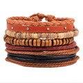 Corda de couro Tecido Pulseira de Casca de Coco Contas De Madeira Da Jóia Mão Personalidade Ornamento