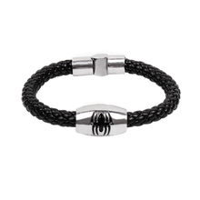 Best Sell new jewelry accessories fashion handmade knitted animal Magnetic buckle enamel spider cowhide leather bracelet male