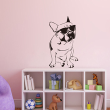 Free Shipping Funny French Bulldog Decals Kids Room Vinyl Wall Sticker Dog With Sunglasses Cute Bedroom WallPaper Home Decor
