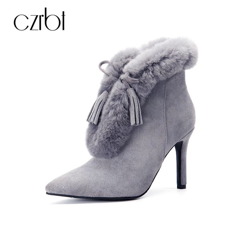 CZRBT Sexy Women Thin High Heel Boots Cow Suede Rabbit Fur High Heels Woman Winter Pointed Toe Fringe Solid Color Ankle Boots aloeent black ankle boots women high heels pointed toe sexy winter boots woman shoes winter women boots with fur inside