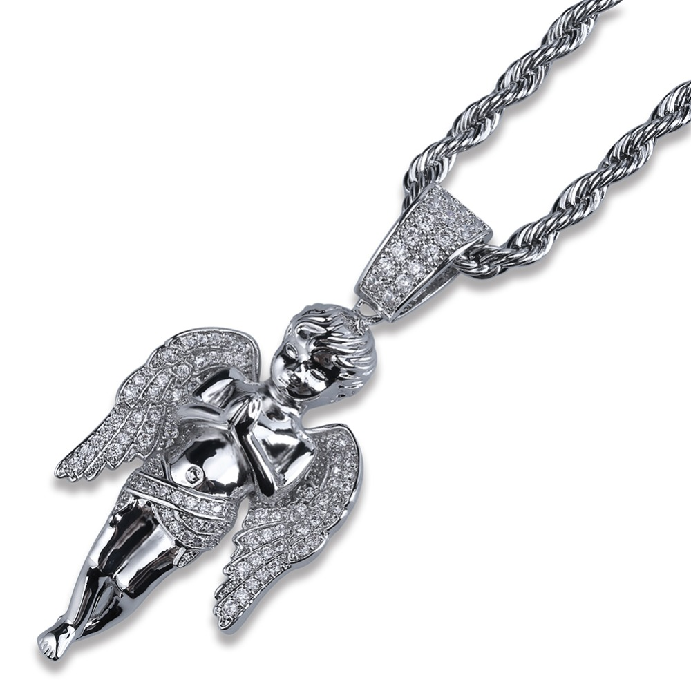 Image 3 - TOPGRILLZ HipHop Men Women Necklace Gold Color Plated Iced Out Micro Pave CZ Stone Angel Pendant Necklaces Love'sblessing Gifts-in Pendant Necklaces from Jewelry & Accessories