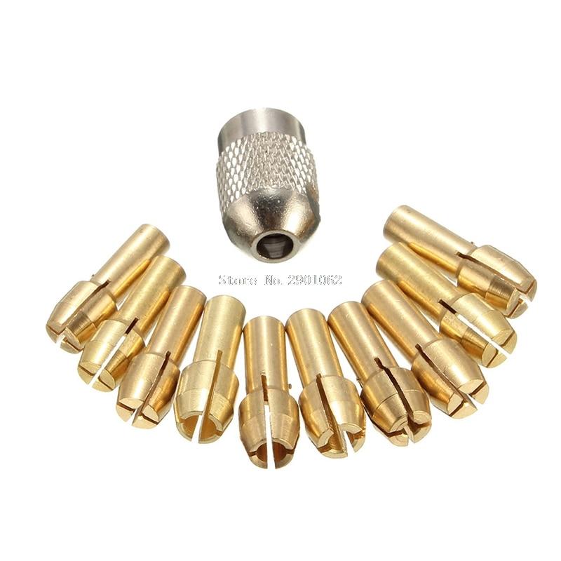 10Pcs 0.5-3.2mm Brass Drill Chuck Collet Bits 4.3mm Shank For Dremel Rotary Tool -B119