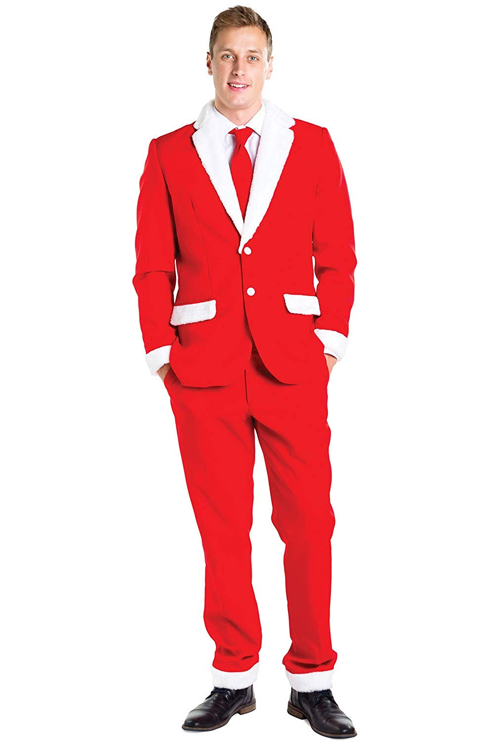 Mens Suits Santa Claus Suit With Furry Lapels And Cuffs - Red And White Santa Christmas Suit(Blazer+Pants)