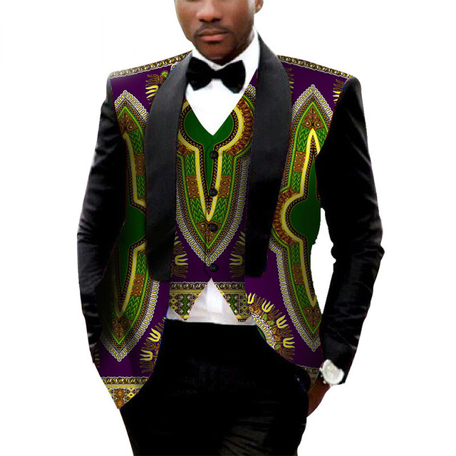 Brand Clothing African Clothes Mens Printed Blazer Men Jacket + Vest Fashion Slim Suits Dashiki Men Large Size 6XL Blazer WYN176