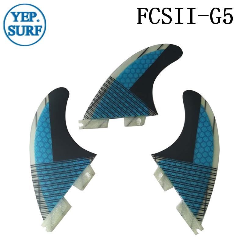 Aileron de planche de surf FCS2 G5 ailerons en nid d'abeille ensemble à trois ailerons FCSII G5 base en fibre de verre 3 pièces par ensemble