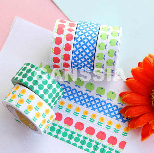 5pcs/pack 16.7mm Kawaii flowers dot series masking paper tape markers Sticky notes set Gift Office school supplies(ss-a987)