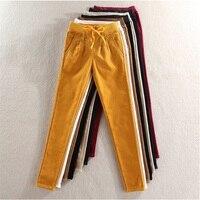 high quality new Ms. winter corduroy pants plus velvet elastic casual pants Elastic waist corduroy pants Women's trousers