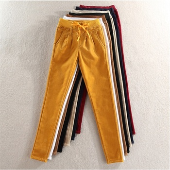 цены high quality new Ms. winter corduroy pants plus velvet elastic casual pants Elastic waist  corduroy pants Women's trousers