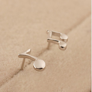 New Summer 925 Sterling Silver Jewelry Lovely Music Note Earrings For Women Statement Fine In Stud From
