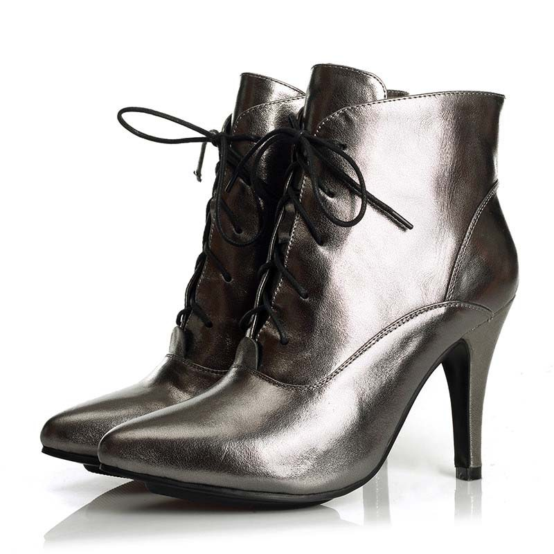 Pointed Toe high quality genuine leather lace up ankle boots Copper women boots hot fashion soft leather wedding shoes hot sale genuine leather shoes women soft comfortable lace up zapatos mujer high quality fashion oxfords pigskin women s shoes