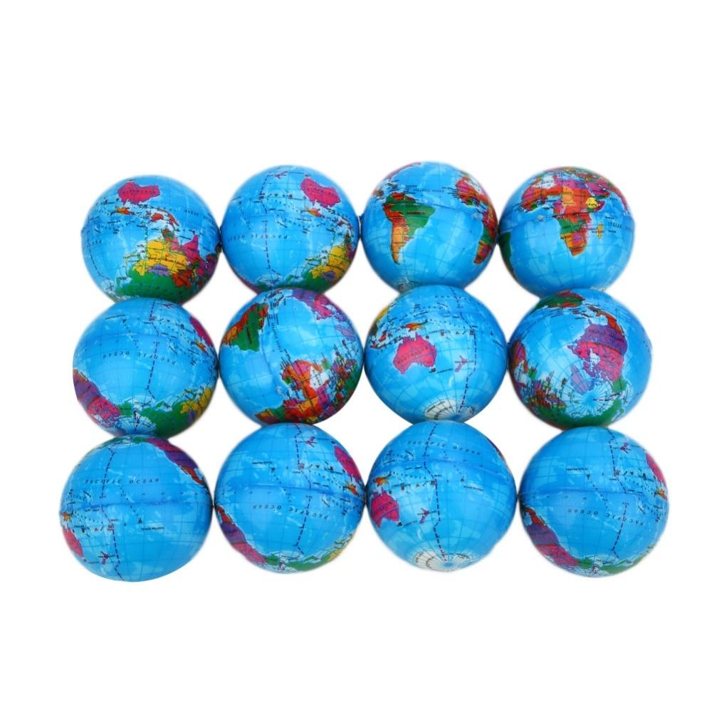 12pcs World Map Foam Ball Atlas Globe Palm Ball Planet Earth Ball Sponge globe educational toys Outdoor Teaching Tool