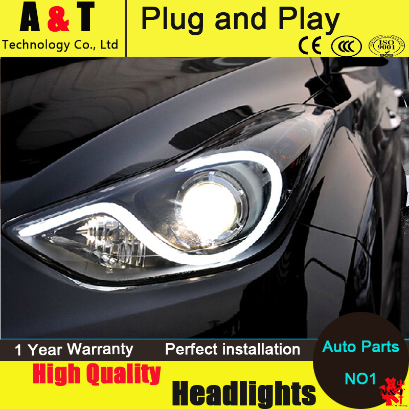 Car Styling LED Head Lamp for Hyundai Elantra MD headlight assembly 2011-2014 S-Type Angel eye led drl H7 with hid kit 2pcs. car styling head lamp for bmw e84 x1 led headlight assembly 2009 2014 e84 led drl h7 with hid kit 2 pcs