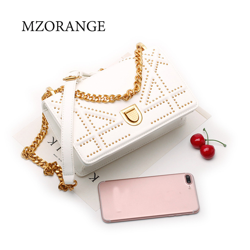 MZORANGE 2018 Genuine Leather women's Flap Chain Bag handbag Fashion Rivets design Ladies Shoulder Bags Cowhide Crossbody Bags twenty four genuine leather female shoulder bags fashion style chain bags with rivets for young girl small lovely handy flap bag