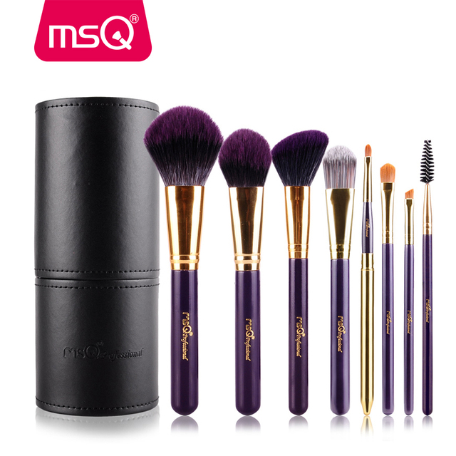 MSQ 8pcs Pro Makeup Brushes Set Soft Synthetic Hair Foundation Powder Eyeshadow Make Up Brush Kit With PU Leather Cylinder