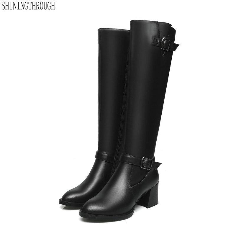 dfe56534 Rodilla Cuero Gruesas 43 42 Tamaño Altos Gran Negro Occidentales Casuales  Femeninos Tacones Zapatos De Botas Mujeres Genuino H8SpdH